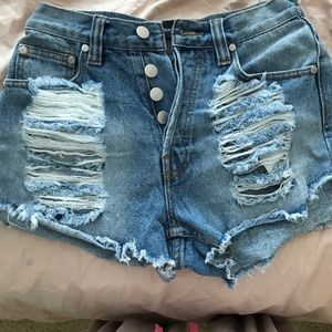 Minkpink distressed denim shorts